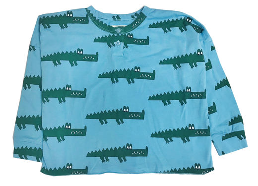 Hugo loves Tiki - Henley wide tee Blue Croc