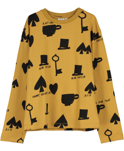 Beau LOves - Long Sleeved Jersey T-shirt, wonderland aop, camel